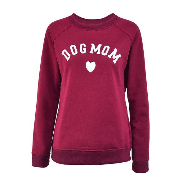 Dog Mom Women's Plus Velvet Long Sleeve Casual Sweatshirt