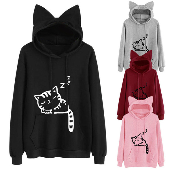 Cartoon Cat Pattern Hoodie Long Sleeve Thick Top for Girls Women