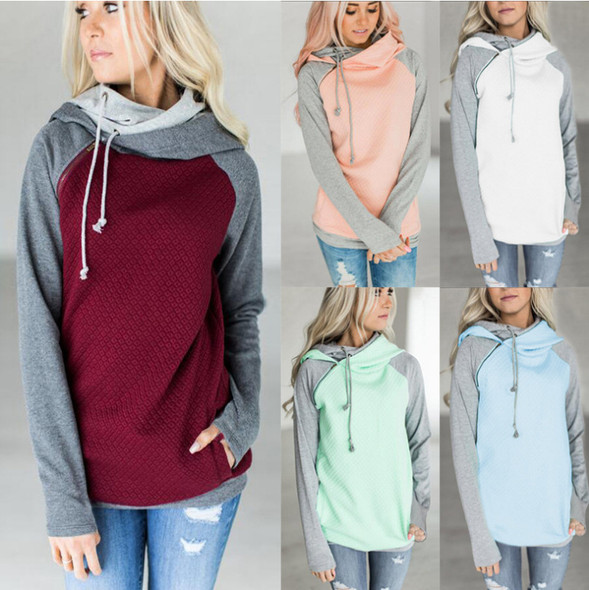 Hooded Pocket Tops Women Hoodie Drawstring Sweatshirt