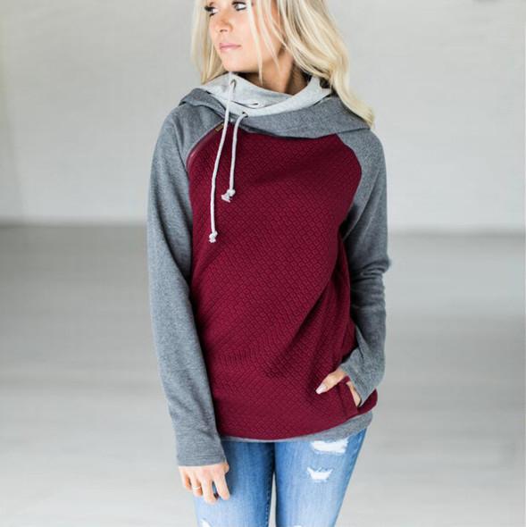 Hooded Pocket Tops Women Hoodie Drawstring Sweatshirt