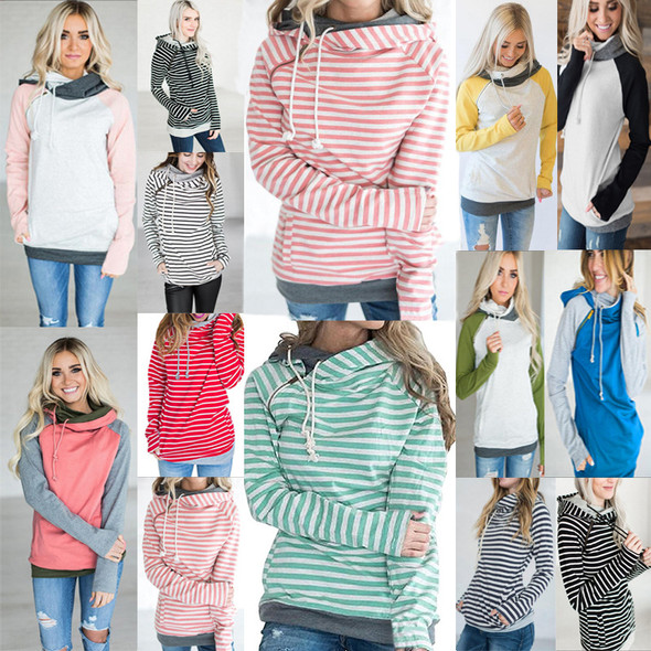 Women Patchwork Hoodies Girls Striped Long Sleeve Tops
