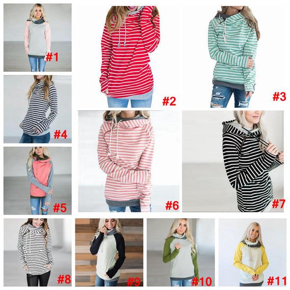 Women Patchwork Hoodies Girls Striped Long Sleeve Tops