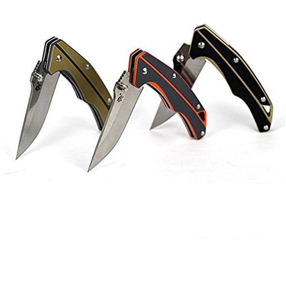 Sanrenmu 7076LK Pocket EDC Folding Knife 12C27 Blade G10 Handle with Lanyard Hole and Clip - Tan