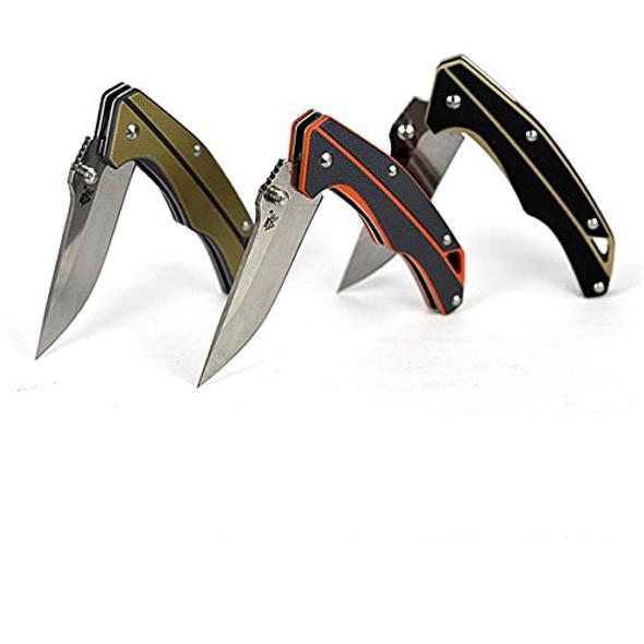 Sanrenmu 7076LJ Pocket EDC Folding Knife 12C27 Blade G10 Handle with Lanyard Hole and Clip