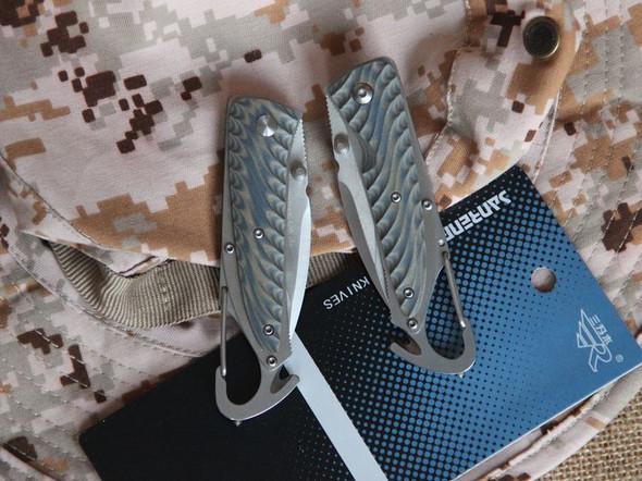 Sanrenmu 7053 Liner Lock Pocket Folding Knife G10 Handle Multi Tools with Buckle Hook Cutter Glass Hammer - Gray