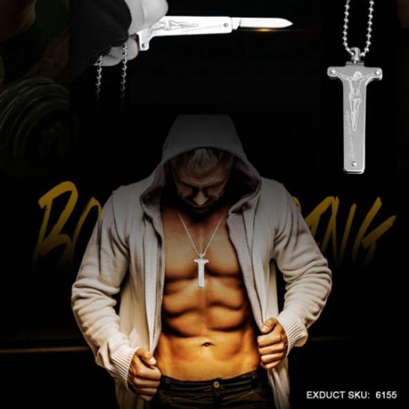 Sanrenmu 6155 Jesus Christ Necklace Small Pendant Folding Knife Outdoor EDC Tools