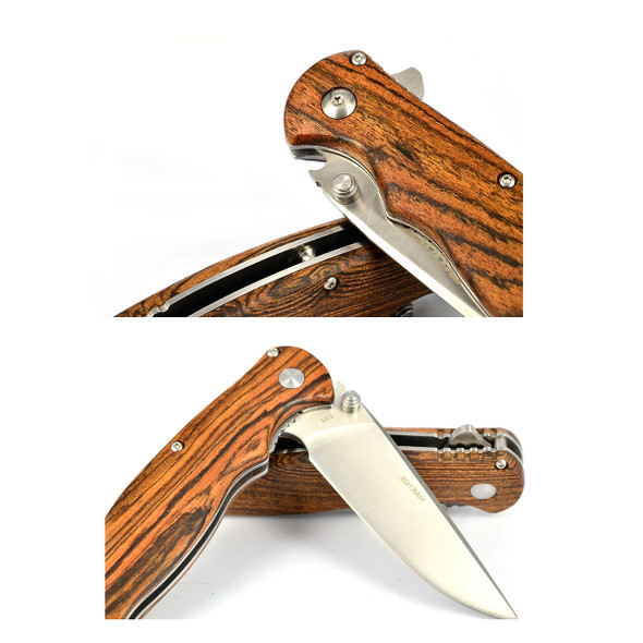 Exduct Wooden Handle Camping Knife Kitchen Bread Knife Fruit knife for you Every Day Carry with Pouch