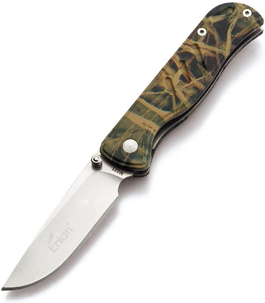 Enlan M021CA 8Cr13Mov Stainless Steel Aluminum Handle Folding Knife with Clip