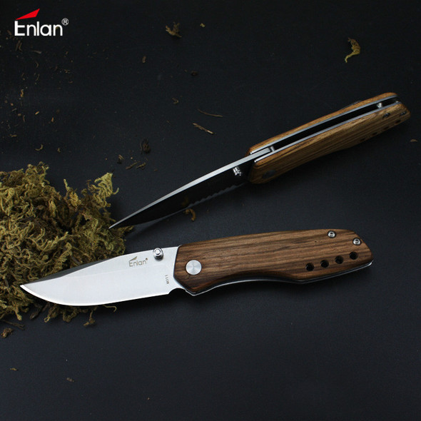 Enlan M011 Stainless Steel Blade Wood Handle Mini Pocket EDC Folding Knife