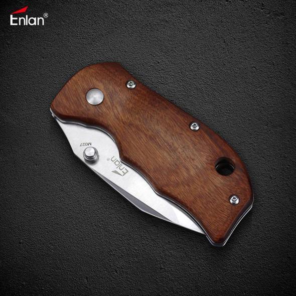 Enlan M027 Liner Lock Pocket Folding Knife Stainless Steel Blade Wooden Handle With Pocket Clip