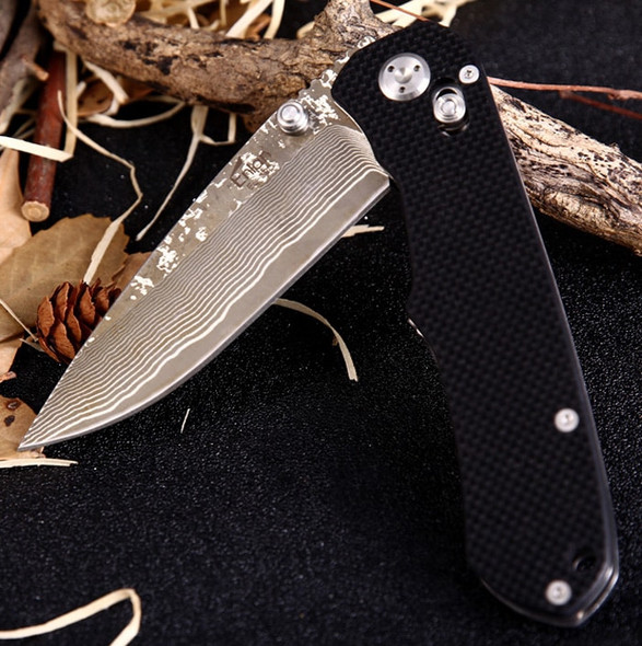 Enlan BEE EL02D EL-02D Damascus Steel Blade Folding Knife G10 Handle Camping Hunting Survival Knives