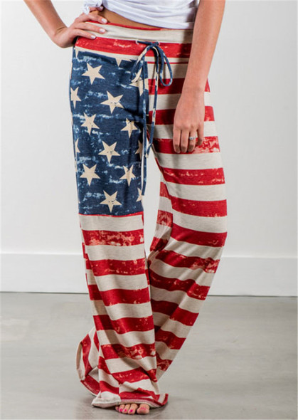 European American Printed High Waist Loose Leg  Casual Pants for Women Girls