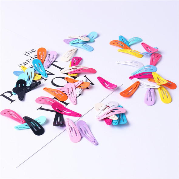 Children Hairpin Set 50pcs per Box 3cm Water Droplets BB Clip Paint Clip Baby Metal jewelry