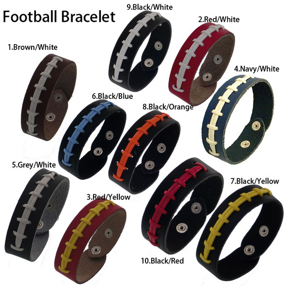 Mens Softball Baseball Leather Seam Bracelet Gifts Fashion Sports Weave Bracelets
