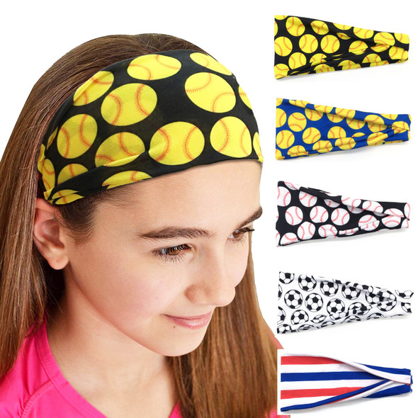 Women Softball Baseball Headband Hair Bands Yoga Fitness Sports Headscarf Game Gym Scrunchy Hair Bands