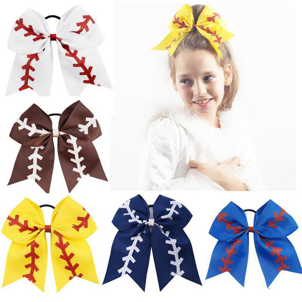 Softball Baby Headband Girl Baseball Cheer Hairbands Rugby Bowknot Hair Bows Cheerleading Hair Accessories