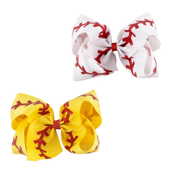 7 Inches Softball Baby Headband Girl Baseball Hairbands Rugby Bow-knot Dovetail Hair Bows Cheerleading Hair Accessories