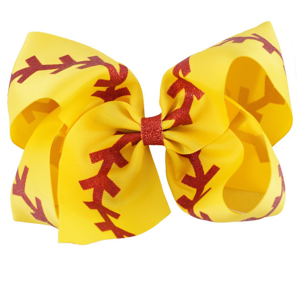 7 Inches Softball Baby Headband Girl Baseball Hairbands Rugby Bow-knot Dovetail Hair Bows Cheerleading Hair Accessories