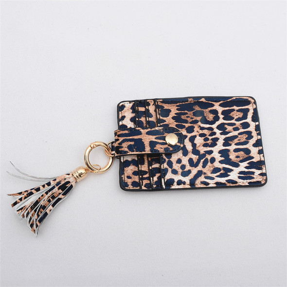 Women Lady PU Leather Tassel Pendant Fashion Card Handle Bag Key Ring Card Bag