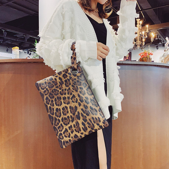 Women's PU Leopard Print Evening Clutches Hand Bags Fashion Clutch Bag Ladies Handbags