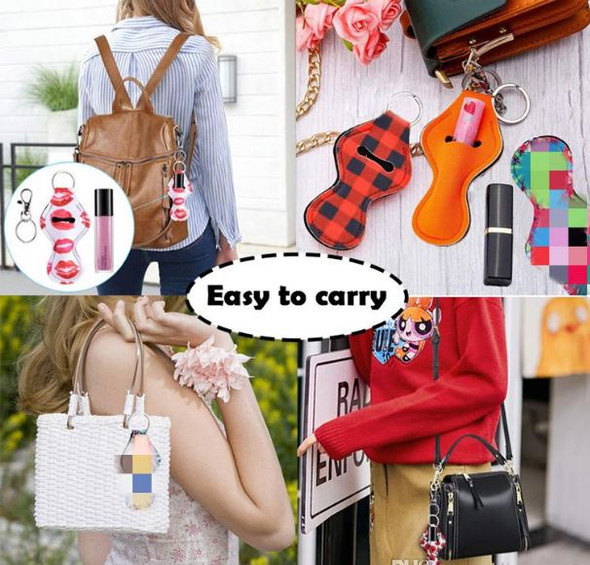 Neoprene Keychain Sports Printed Chapstick Holder Leopard Keychain Wrap Lipstick Holders Lip Cover Party Favor Gifts