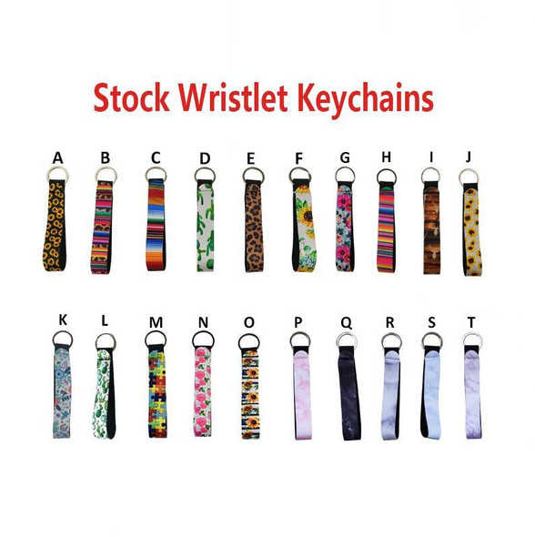 Wristband Keychains Floral Printed Key Chain Neoprene Key Ring Wristlet Keychains