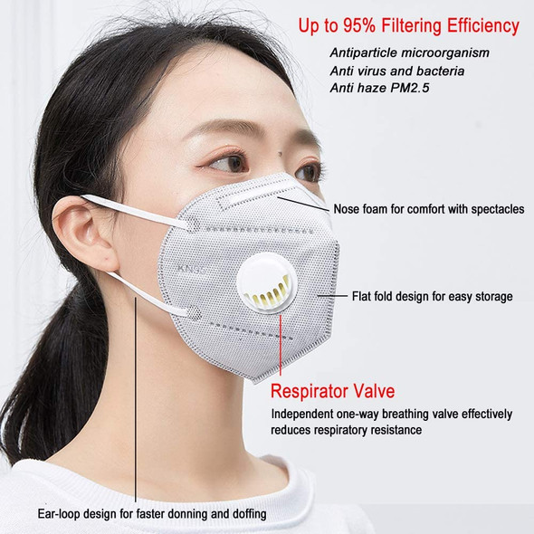 Reusable KN95 Respirator Mask Valved N95 Dustproof Anti-fog Breathable Face Masks 95% Filtration Masks with Filter