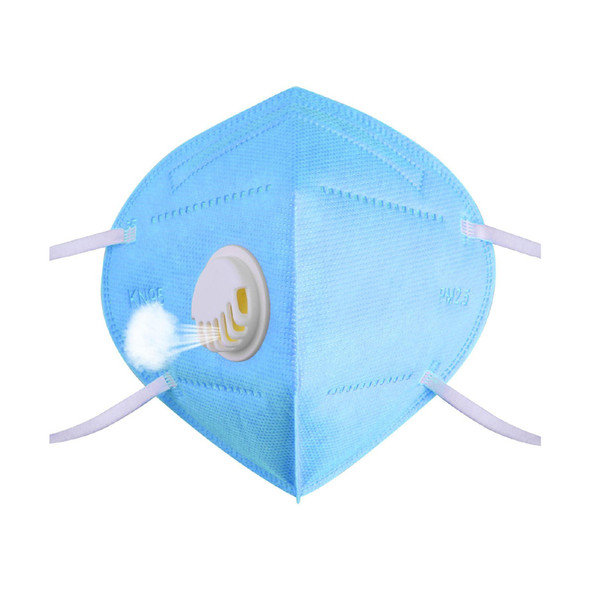 KN95 Face Mask Reusable Mask Filtration Breath Valve Protective Masks For Dust Particles Pollution Anti Virus PM2.5 - Blue