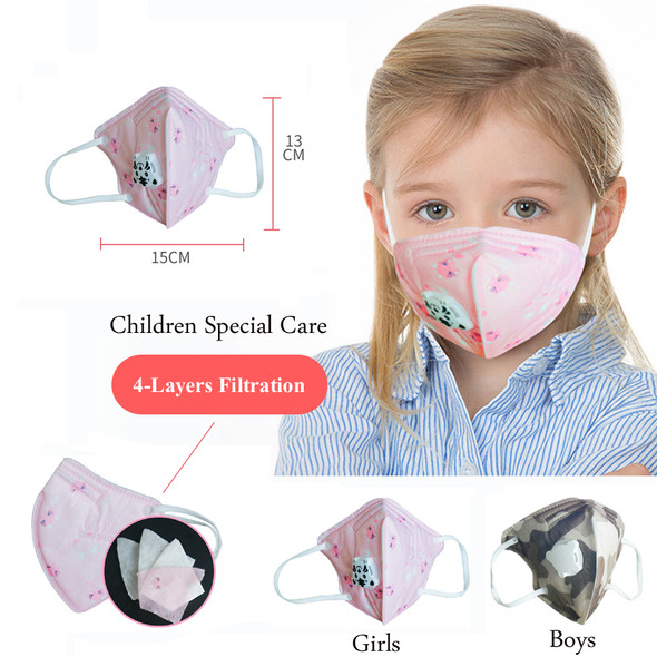 Kids Face Mask with Filter Valve N95 PM 2.5 Children Mouth Cotton Mask Respirator Virus for Germs Protection Mask