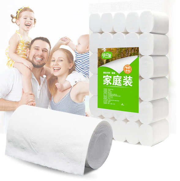 12cm Toilet Roll Paper 4 Layers Home Bath Toilet Roll Paper Primary Wood Pulp Toilet Paper Tissue Roll  - 10pcs per Unit