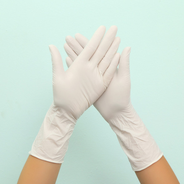 12 inch Long Disposable Latex Gloves White Non-Slip Acid and Alkali Laboratory Rubber Latex Gloves Household Cleaning Products
