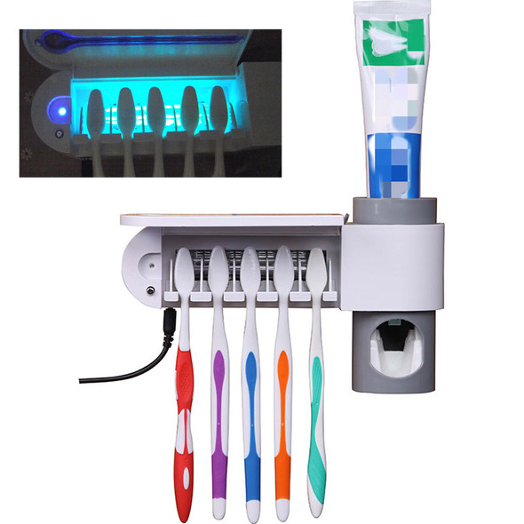 3 In 1 Multifunctional Ultraviolet Toothbrush Disinfection Sterilizer Toothbrush Rack Shelf UV Disinfector Toothpaste Squeezers