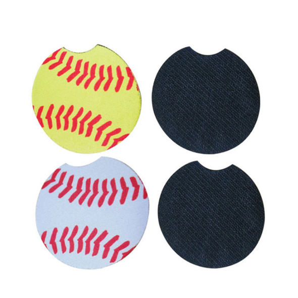 Mugs Mat Baseball Softball Neoprene Car Coasters Car Cup Holder Coasters for Car Cup Contrast Home Decor Accessories