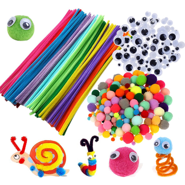 Plush Stick Pompoms Rainbow Colors Shilly Stick Educational DIY Toys Handmade Art Craft Creativity Devoloping Toys