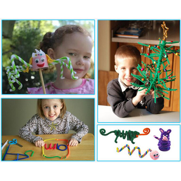 Plush Stick Pompoms Rainbow Colors Shilly Stick Educational DIY Toys Handmade Art Craft Creativity Devoloping Toys