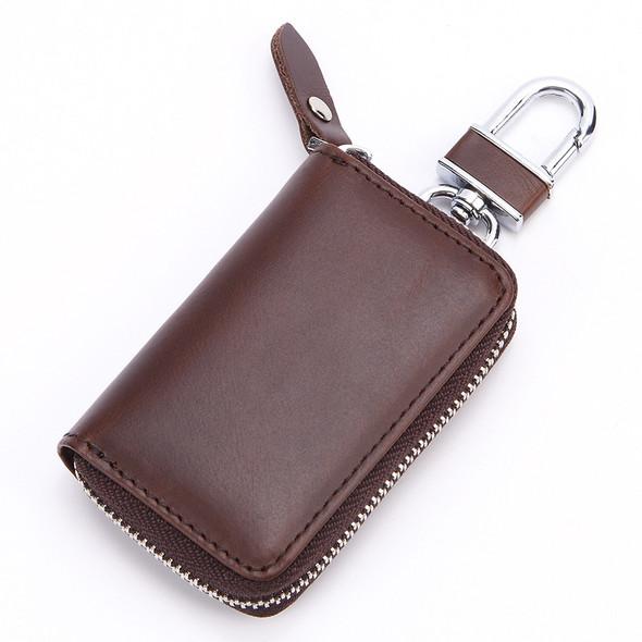 Men Women Universal Genuine Leather Cowhide Car Key Holder Zipper Keychain Wallet Case Pouch Purse Keys Bag