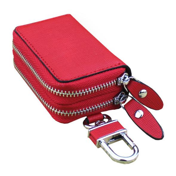 Genuine Leather Keychain Car Key Holder Double Zipper Case Wallets Bag