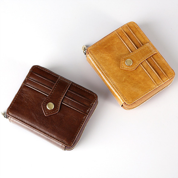 Genuine Leather Retro Wax Oil Zipper Clutch Bag Card Wallet Casual Purse Multi-function Wallet