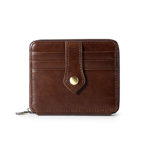 Genuine Leather Retro Wax Oil Zipper Clutch Bag Card Wallet Casual Purse Multi-function Wallet