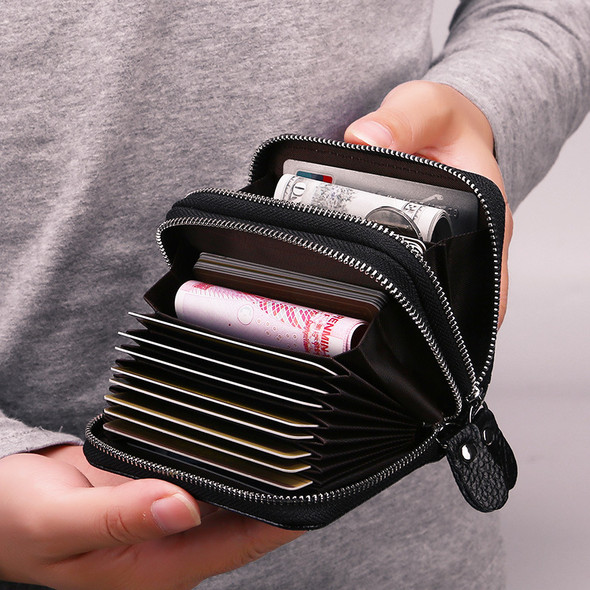 Double Zipper Genuine Leather Card Holder RFID Anti-magnetic Organ Clip Coin Wallet Anti-theft Purse