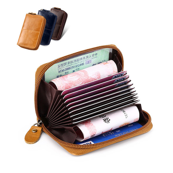 Certificate Bag Card Holder Clip Credit Card purse Leather Retro Wallet