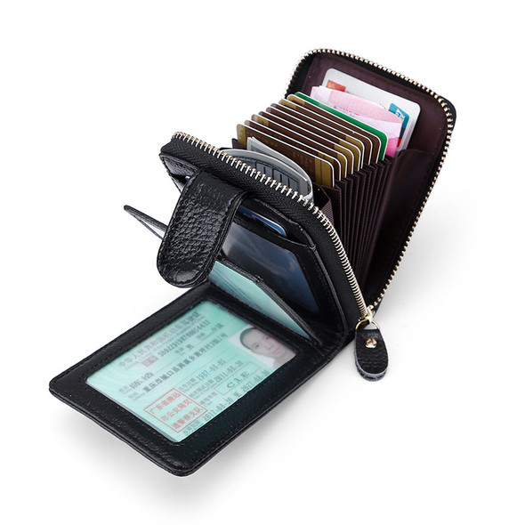 Driver's License Leather Card Cowhide Three-storey Mens Multi-function Zipper Wallet