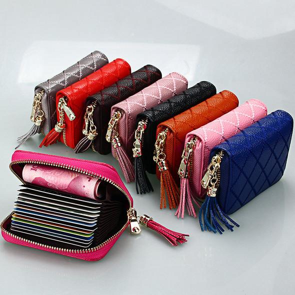 Cute Card Holder Ladies Zipper Pocket Purse Antimagnetic RFID for Credit Card