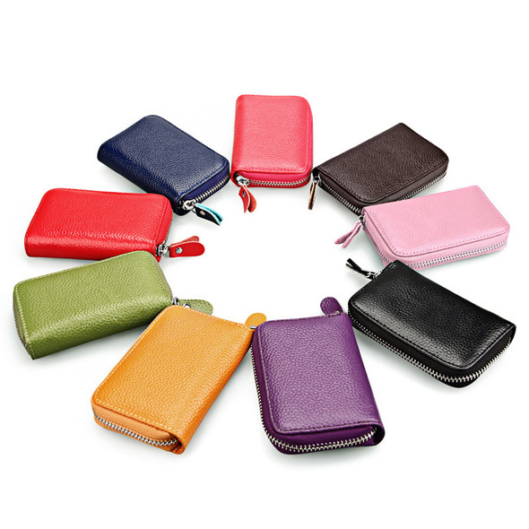 Card Holder Multicolor Optional Anti-theft RFID Leather Wallet