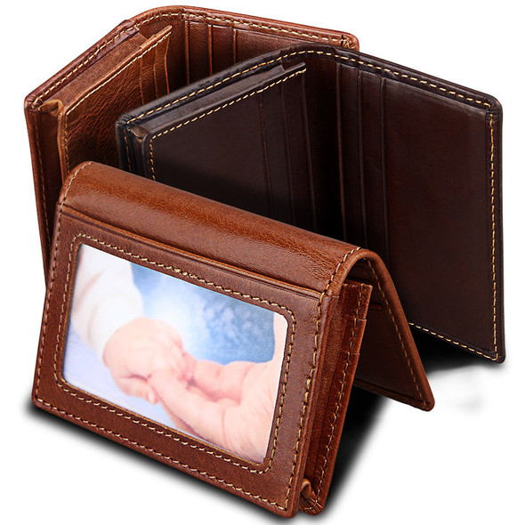 Genuine Leather Pocket Purse for Men and Women Certificate Bag