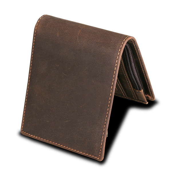 Leather Bags Anti-theft Brush RFID Men's Wallet Leather Wallet Crazy Horseskin Short Leisure Wallet