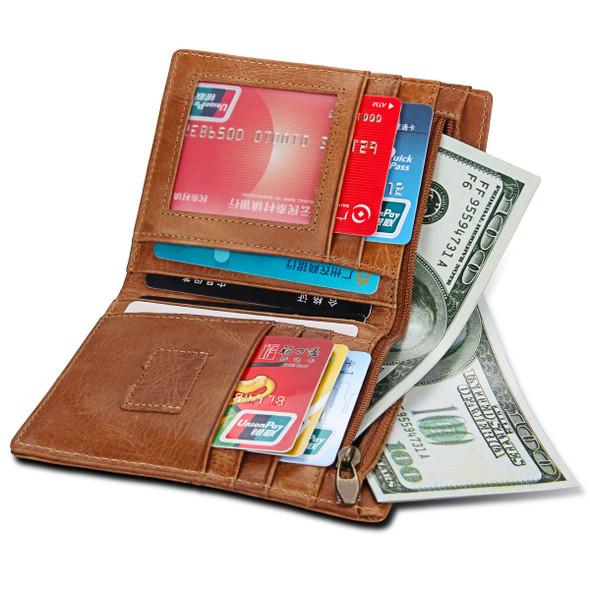 Mens Wallet Anti-theft Brush Universal Bag Genuine Leather Mens bag Retro Short Wallet