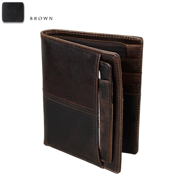 Mens Wallet Anti-theft Brush Universal Bag Genuine Leather Mens bag Retro Short Wallet