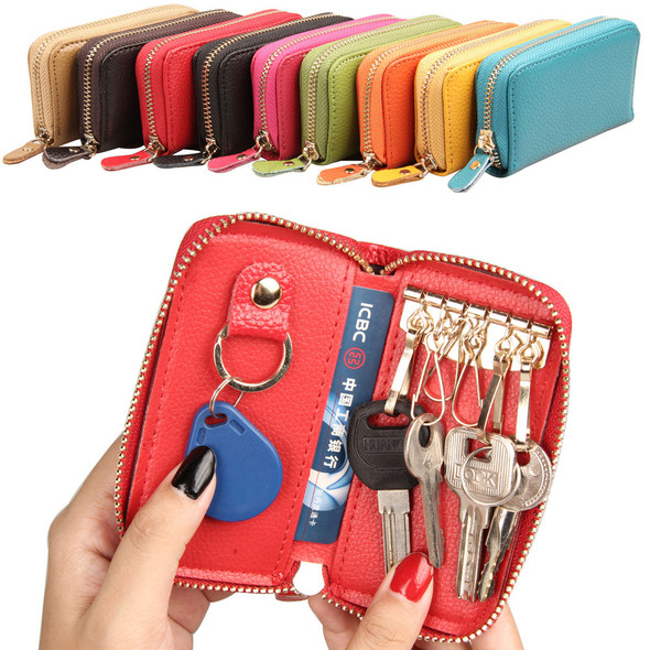 Cowhide key pack change Wallet Korean version card bag Card sleeve Top layer leather Key case