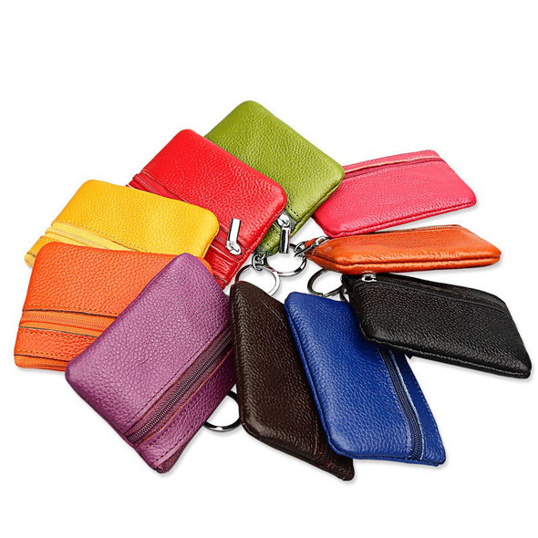 Korean zipper key pack Women's change Wallet Korean version card bag Card sleeve Top layer leather Key case